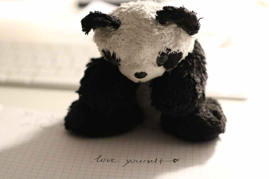 "Stuffed panda toy with the handwritten words ""love yourself."""
